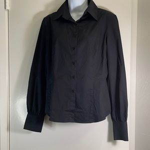 Women's Express Stretch size 9/10 button down collared classy black shirt